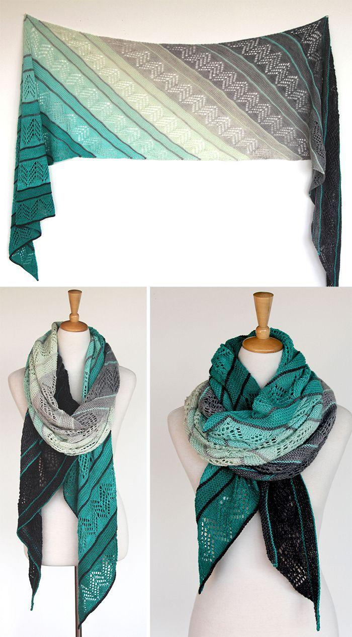 Knitting Pattern for Inara Wrap - Diagonal columns of alternating ...