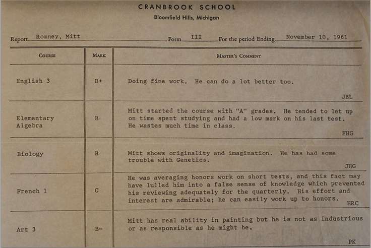 No tax returns from Mitt, but here's his high school report card from freshman year.