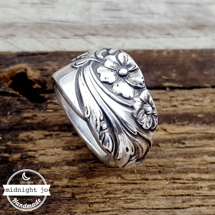 Best Evening Star Floral Silverplate Spoon Ring