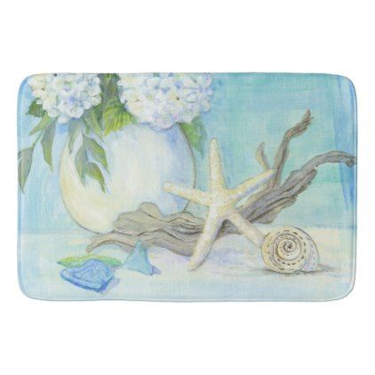 Beach Cottage Seashell Starfish w Sea Glass Floral Bath Mat - floral style flower flowers stylish diy personalize