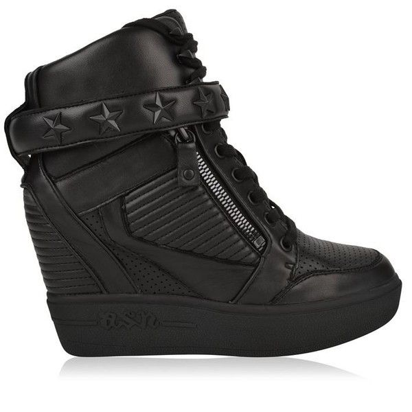 Ash Leather Wedge Trainers ($220) ❤ liked on Polyvore featuring shoes, sneakers, black, wedged sneakers, wedge trainers, studded lace-up wedge sneakers, lace up sneakers and leather lace up sneakers