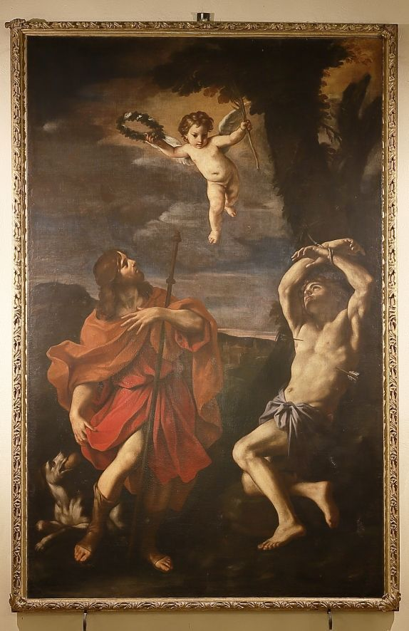 Gignani Carlo, I Santi Sebastiano e Rocco, tela, m. 3,80×2,40, Massa Lombarda, Ravenna, chiesa Conversione di S. Paolo.