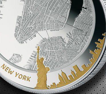 Legendární metropole světa - satelitní Google mapy na mici z ryzího stříbra