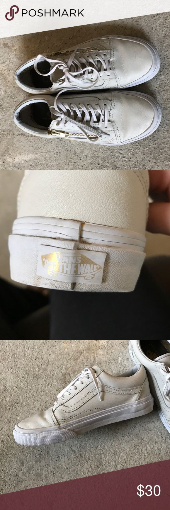 White leather vans Leather white vans with gold zipper on side. Barely worn, women's size 7. Vans Shoes Sneakers