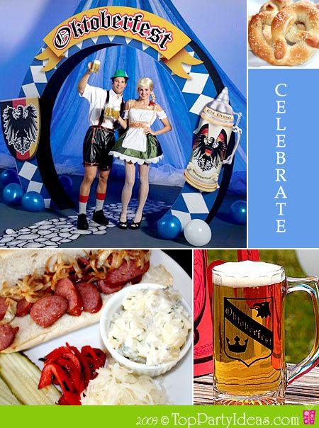 Oktoberfest Party Ideas and German Theme Party - recipes for pretzels, German potato salad, sausage dinner, roast pork, apple butter.  Also party ideas, decor, games.