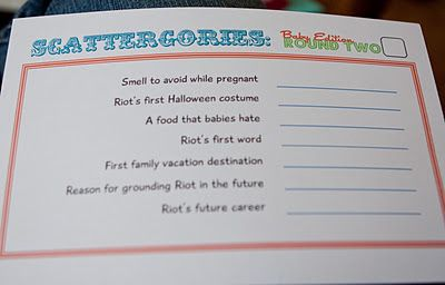 Best baby shower game ever! Personalized scattergories