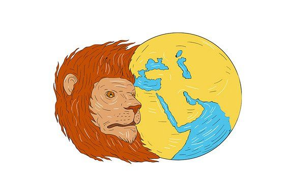 Lion Head Middle East Asia Map - Illustrations.  Drawing sketch style illustration of a lion head with flowing mane looking to the side with middle east and asia map globe set on isolated white background. #illustration   #LionHeadMiddleEastAsiaMap