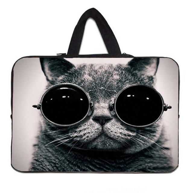 Stylish Laptop Sleeve Cat Animal Double-Sided Printed Notebook Carrying Case Water Resistant Neoprene Tablet Sleeve Laptop Accessory White 13inch
