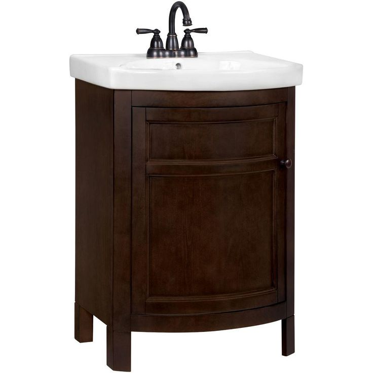 Glacier Bay Tuscan 23 3 4 In W X 18 1 4 In D Vanity In Chocolate With Vitreous China Vanity Top In White