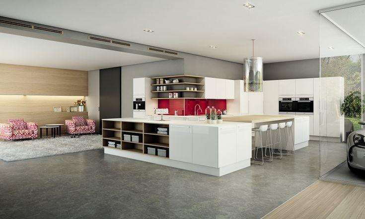 Hvit høyglans med vakre detaljer i kjøkken fra HTH