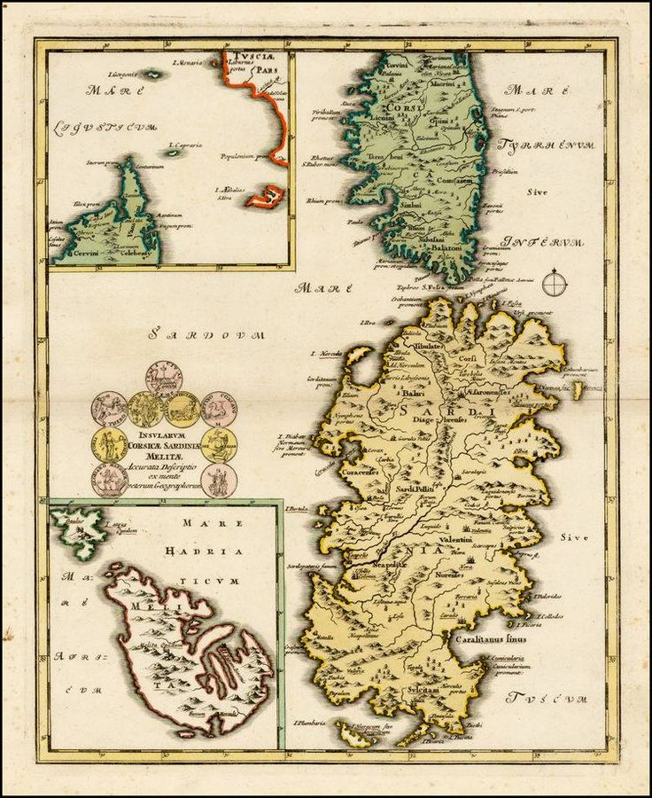 "Feb 22, #‎MaltaMapMonday‬ gives a compilation map of Malta appearing alongside the islands of Sardinia and Corsica. Johann Christoph Weigel, ""Insularum Corsicae Sardiniae Melitae Accurata Descriptio ex mente veterum Geographorum."" Nuremberg: 1718."