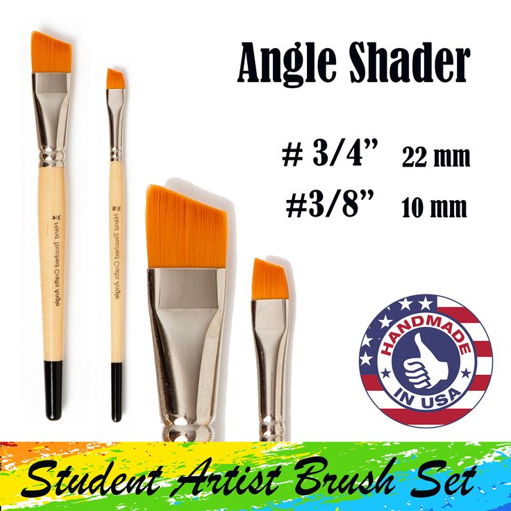 The Student Artist Brush Set has two Angle paintbrushes. A ¾-inch brush (22 mm bristle length) and a 3/8 inch brush (10 mm bristle length)