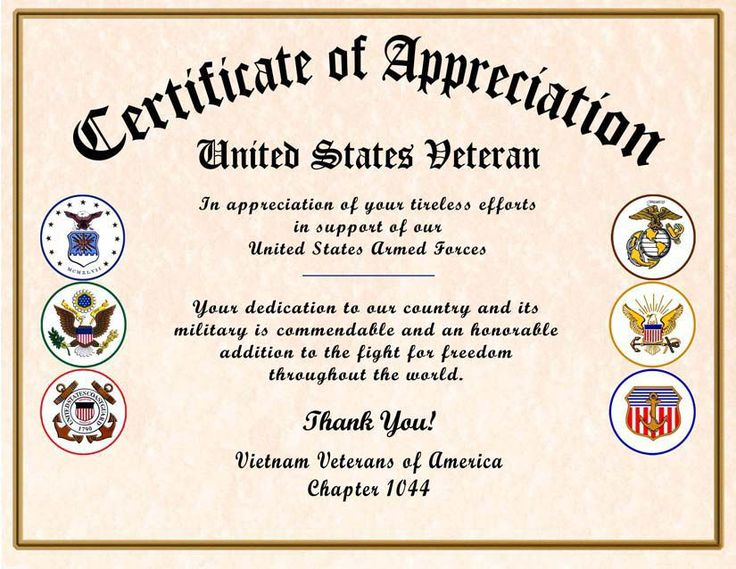 comfortable military certificate of appreciation veteran