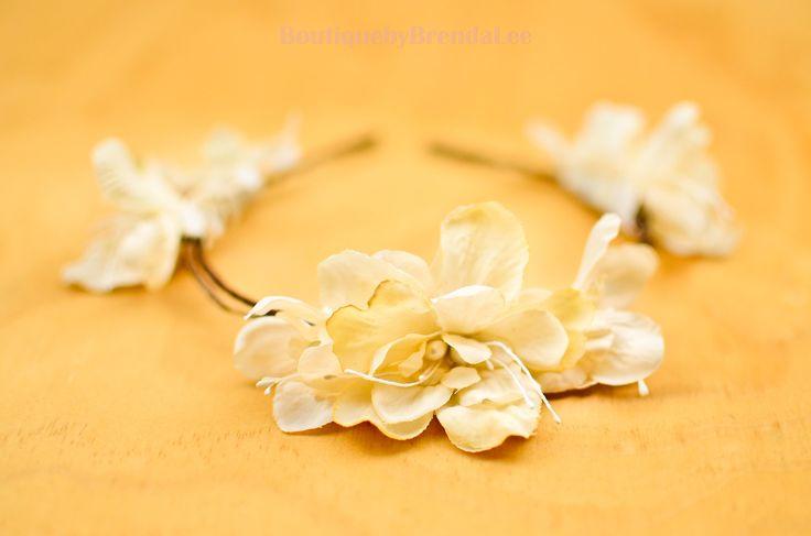 BRENDA LEE Cream Delphinium Flower headband floral hair accessory/wedding bridal bridesmaids bride women adult girl party 50405 by BoutiquebyBrendaLee on Etsy