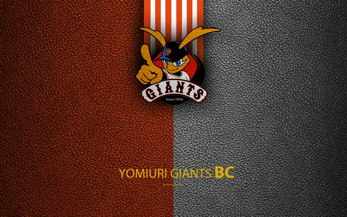 Download wallpapers Yomiuri Giants, 4k, Japanese baseball club, logo, leather texture, Tokyo, Japan, Nippon Professional Wash?vall, baseball