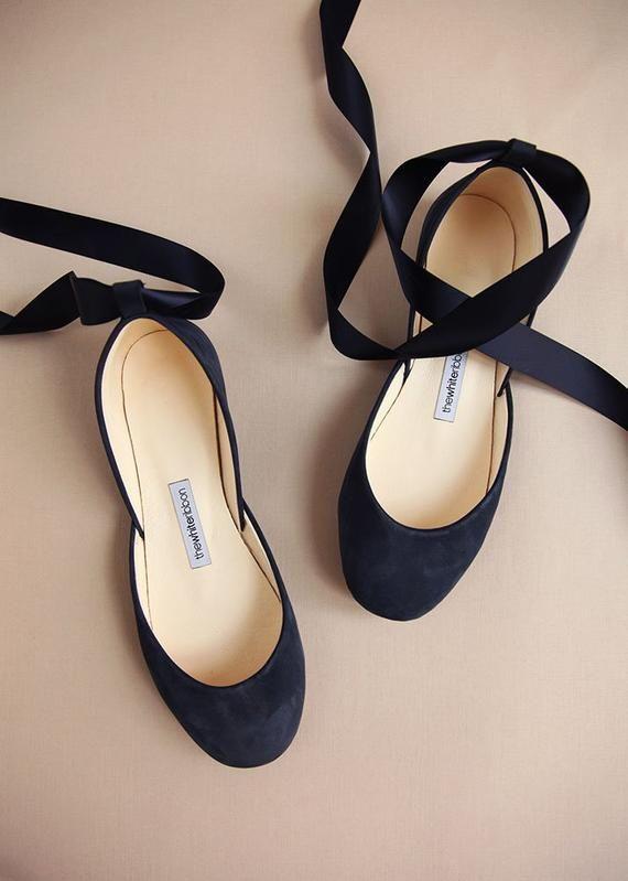 7c0c00b03e34 Navy Blue Wedding Ballet Flats