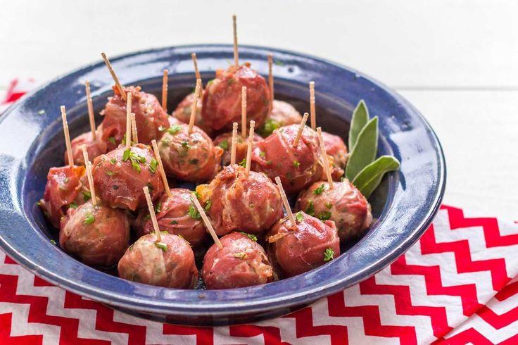 Stuffed Prosciutto Meatballs with Cranberry Glaze