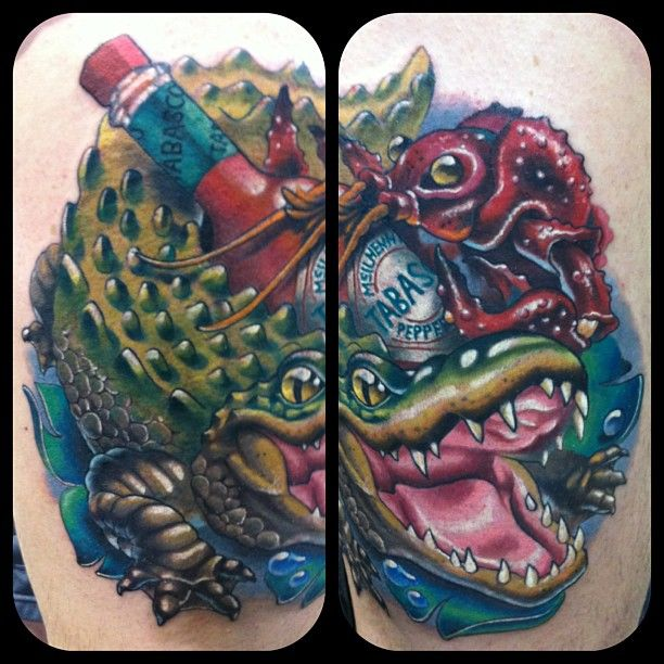 Finished Louisiana piece. Best Animal Piece at the Gulf Shores Tattoo Expo