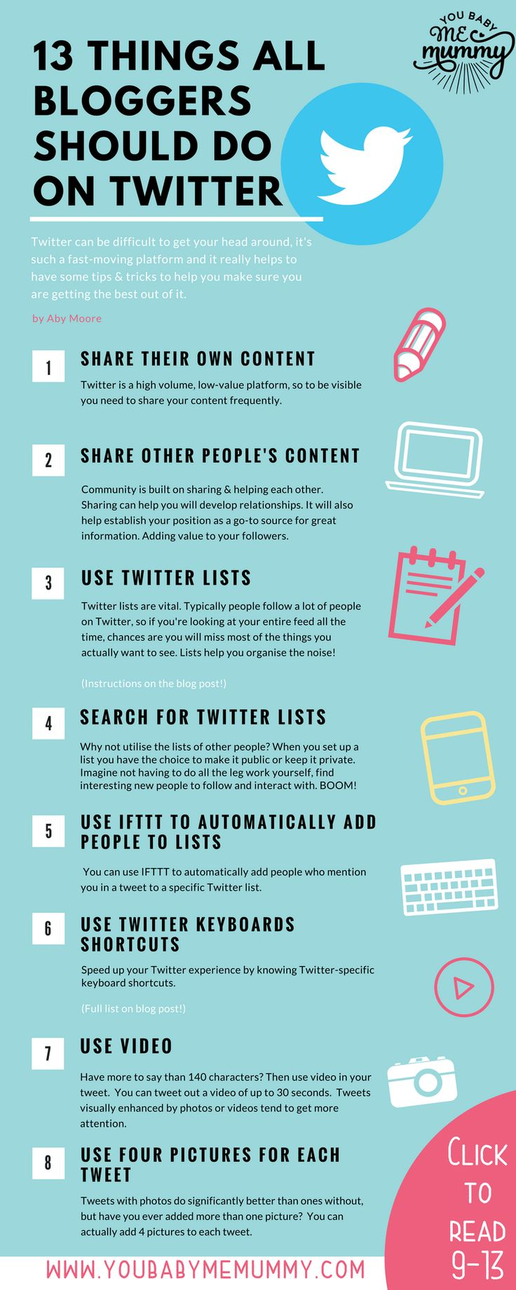 Do you struggle with Twitter? Realise you could get much more traffic from the network but unsure how to go about this? Read this post for 13 of my best Twitter tips for bloggers.