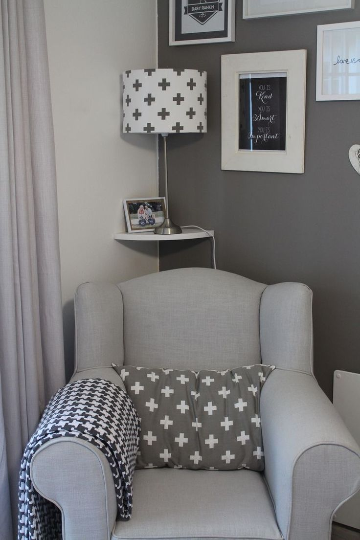 For my nursery I want a grey chair much like this with a foot stool to nurse baby on. Fits my aesthetic as well as being comfy! Will post a similar chair price and link when I find one!
