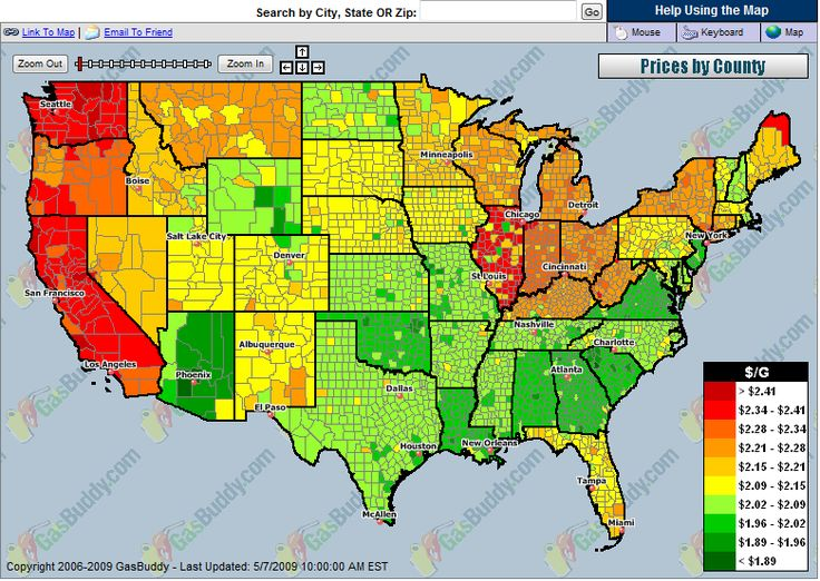USA National Gas Temperature Map (2009)
