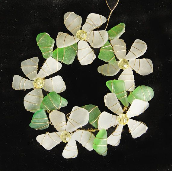 Sea Glass Suncatcher Wreath Sea GlassOrnament with by oceansbounty, $20.00