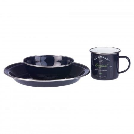 Enamel Dinner Set 12pc   Dark Navy