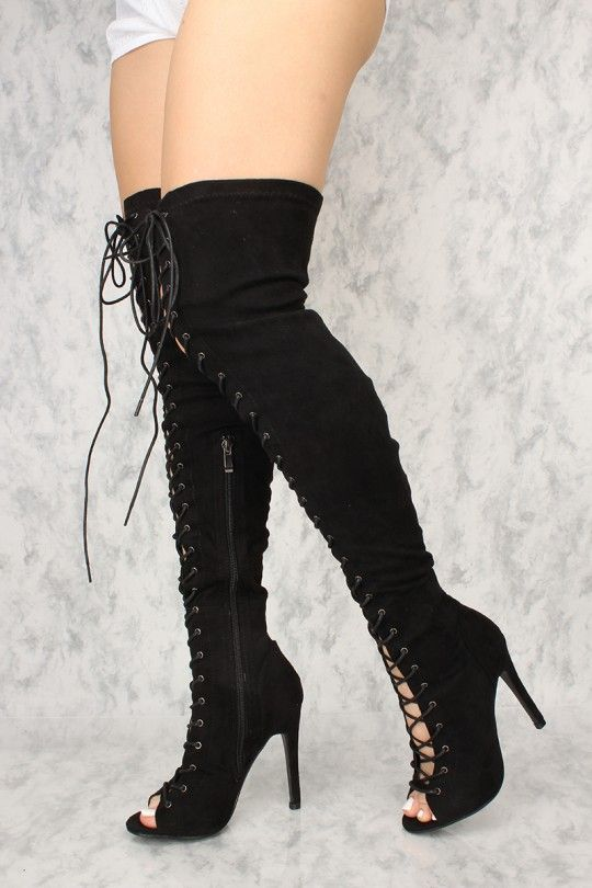 14949ce81f Sexy Black Lace Up Open Toe Thigh High Boots Faux Suede in 2019 ...