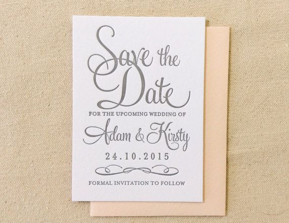 Best  Formal Calligraphy Letterpress Wedding Save The Dates