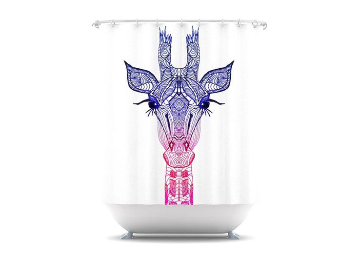 Rainbow Giraffe Shower Curtain By Monika Strigel