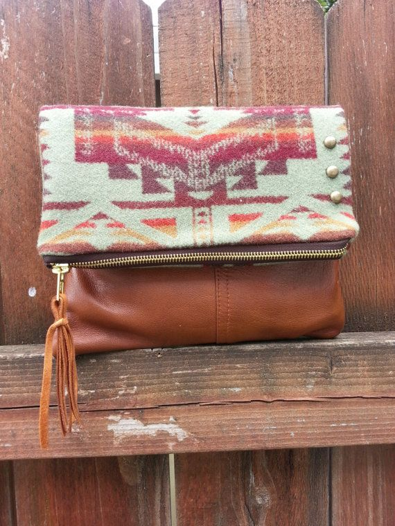 Pendleton Wool Fabric and Leather Foldover Clutch by StarryGarden, $68.00
