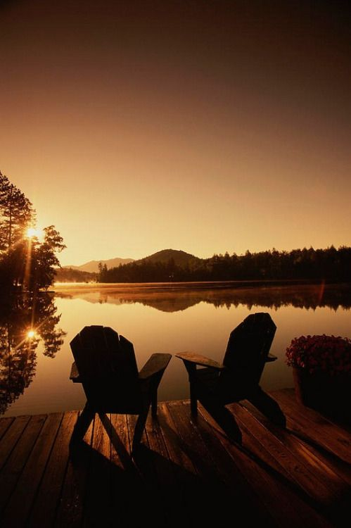 Superior Pair Of Adirondack Chairs On A Dock At The Mirror Lake Inn Photographic  Print By Michael Melford A. More With Healing Sounds: