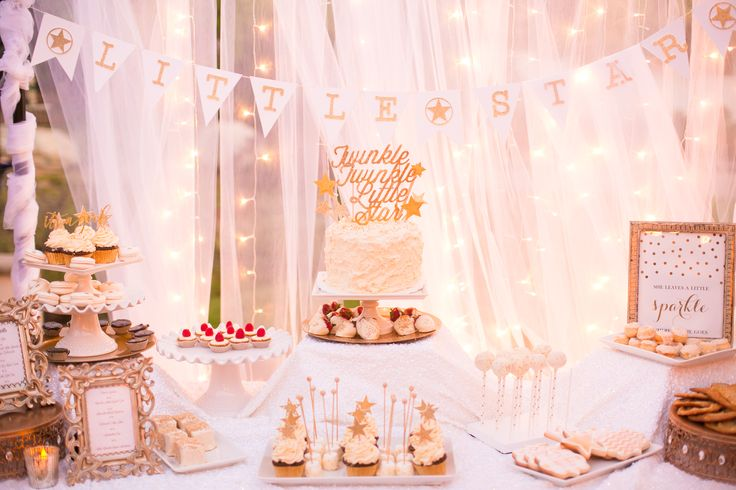 Twinkle Twinkle Little Star Baby Shower Dessert Table. Tulle and Twinkle light background