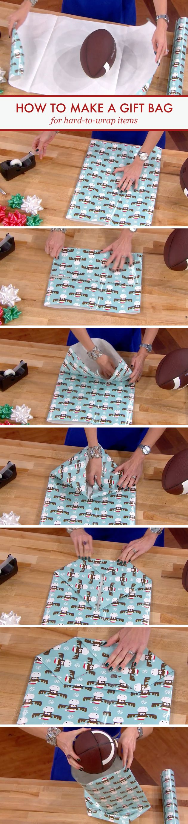 How to make DIY gift bags for hard-to-wrap items.