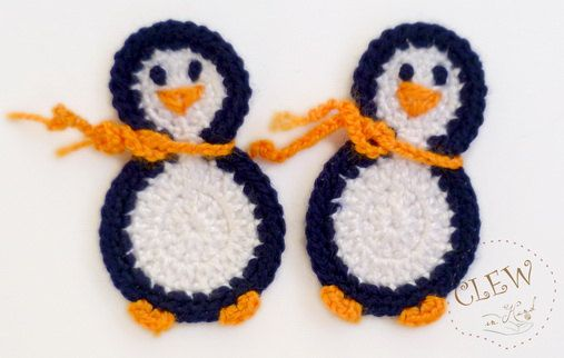 penguin crochet applique