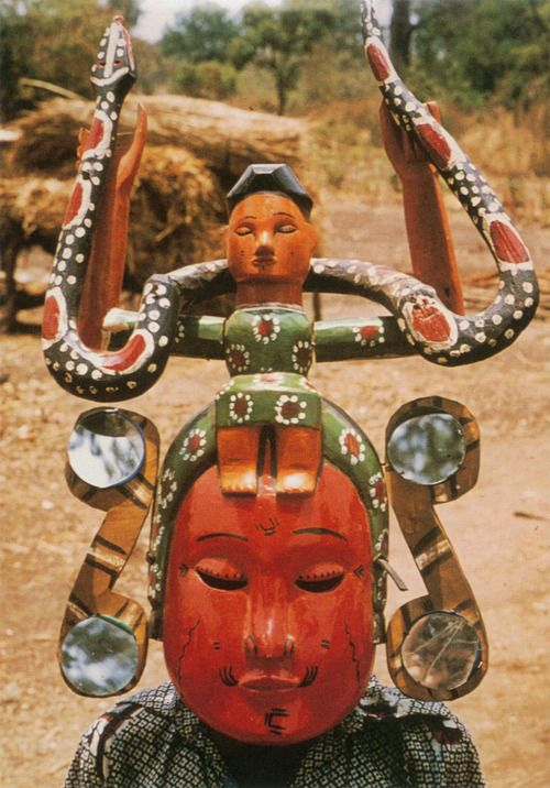 """ukpuru:      """"Mami Wata""""kwaghirmask owned by Aba [Tiv sculptor]. Agagbe district, Nigeria, 1978. Photo: S. L. Kasfir. This mask in the style of an Annang Ibibio work-shop may actually have been made by Aba.    —Sidney Littlefield Kasfir    Watch a documentary on Mami Wate by 37th State."""