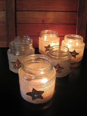 Country Star and Burlap Tea Light Holders  Set by theopenwindows