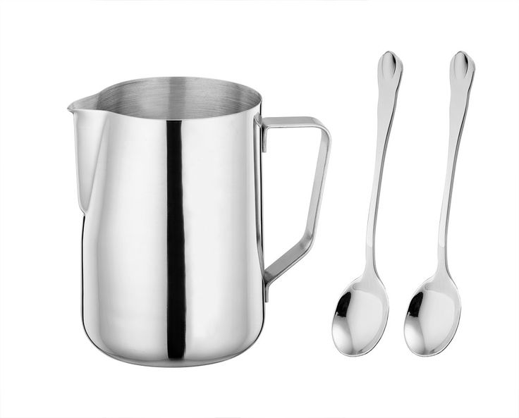 LIANYU Frothing Pitcher, Stainless Steel 12 oz Milk Steaming Pitcher, Coffee Creamer Pitcher for Espresso Latte Maker and Milk Frother, Attached Mini Tea Coffee Spoons