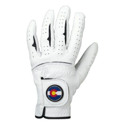 Leather Golf Glove with Flag of Colorado USA - elegant gifts gift ideas custom presents