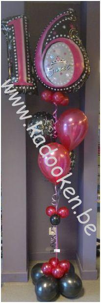Sweet 16 Bday, verjaardag, 16e verjaardag, Happy Birthday, ballonnen, ballondecoratie, heliumballonnen, helium, verjaardagsballonnen, balloons