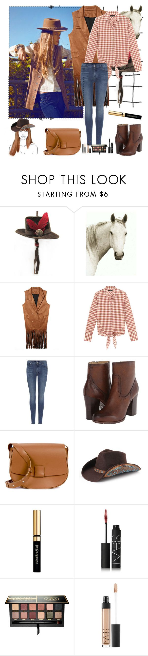 """""""- cowboy."""" by a-shaykhina ❤ liked on Polyvore featuring Natural Curiosities, J.Crew, 7 For All Mankind, Frye, Nico Giani, Peter Grimm, Yves Saint Laurent, NARS Cosmetics, Anastasia Beverly Hills and Gucci"""