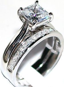 Great Princess Cut Diamond Engagement Ring Wedding Band Set Sterling Silver WG Sz