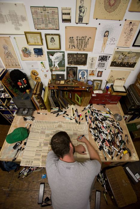 Artist In Studio Drawing His Heart Out - Love This Image