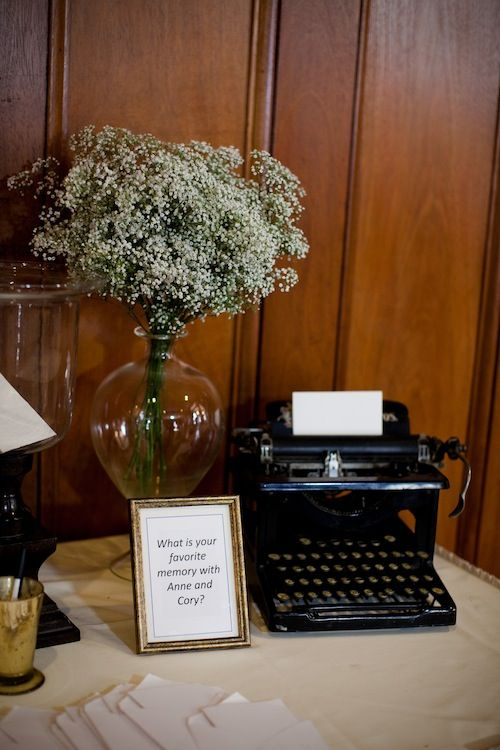 Love using a vintage typewriter at the reception table!