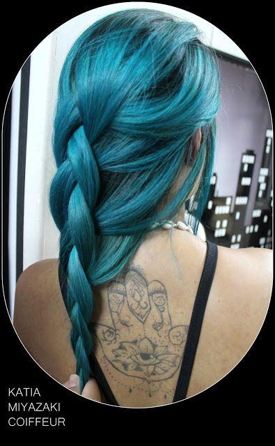 Katia Miyazaki Coiffeur - Salão de Beleza em Floripa: trança em cabelo verde azulado - trança embutida -...