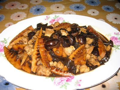 Sumptuous Flavours: Braised Pork Belly With Mushrooms, Bamboo Shoots a...