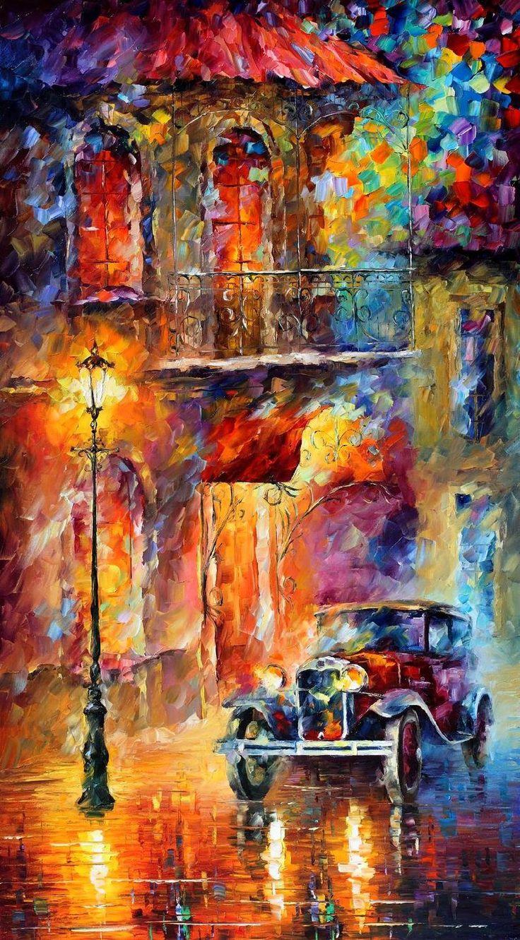 Old car - oil painting by Leonid Afremov by Leonidafremov.deviantart.com on @DeviantArt