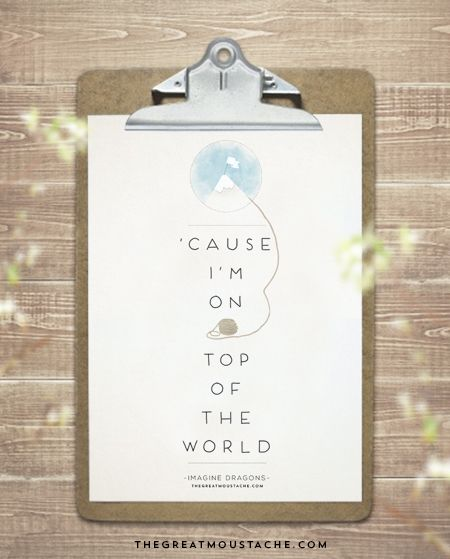 IMAGINE DRAGONS - ON TOP OF THE WORLD - FREE PRINTABLE - TGM