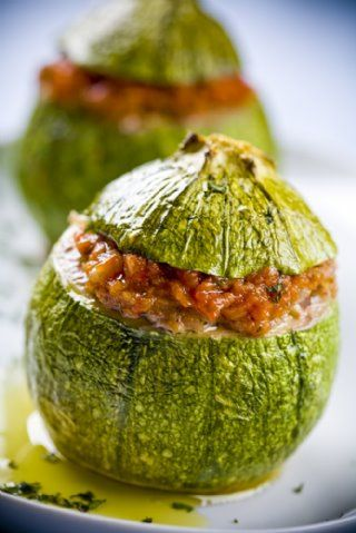 Stuffed marrows can be taken with broth,but they can also be baked and served with some delicious oven baked potatoes as a main plate. It doesn't take long to make this recipe and it is also healthy due to its ingredients.