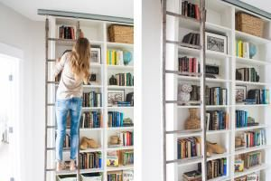 These 23 IKEA BILLY bookcase hacks share how you can transform your home with customized storage that fits your space, style, and budget.: BILLY Library Ladder Hack